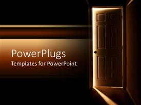 PowerPlugs: PowerPoint template with door getting open to display light from the interior of a dark room