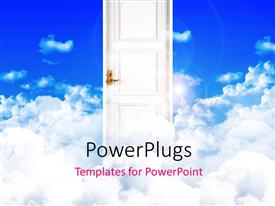 PowerPlugs: PowerPoint template with a door with a lot of clouds in the background