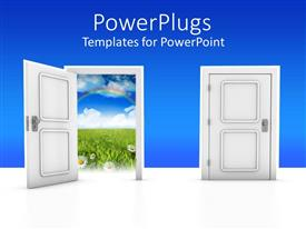 PowerPlugs: PowerPoint template with a door open and one closed