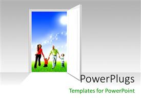 PowerPlugs: PowerPoint template with a door opened with a family in the background