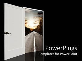 PowerPoint template displaying door opening to highway landscape, black background