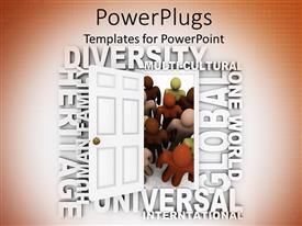 PowerPlugs: PowerPoint template with door opening for the people belong to different race