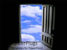 PowerPlugs: PowerPoint template with door of opportunity knocking window as a metaphor blue skies positive outlook