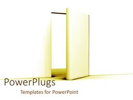 PowerPlugs: PowerPoint template with door of opportunity as a metaphor open door window success strive on a white background