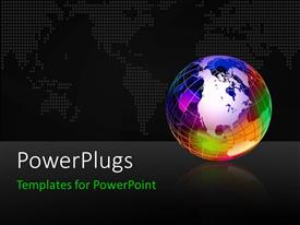 PowerPlugs: PowerPoint template with dots forming world map with colorful earth globe and reflection