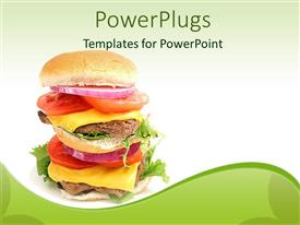 PowerPlugs: PowerPoint template with double cheeseburger with cheese slices, meat, onion slice, tomato slice and salad between burger slices on light green background