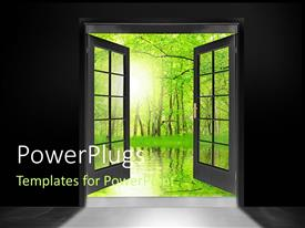 PowerPlugs: PowerPoint template with double glass doors opened to show green forest trees and water reflection