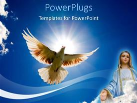 PowerPoint template displaying a dove in the air with sun in the background