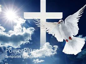 PowerPlugs: PowerPoint template with a dove in front of a cross and clouds in the background
