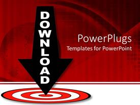 PowerPlugs: PowerPoint template with download arrow pointing down the middle of red target