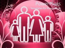 PowerPlugs: PowerPoint template with a drawing of a family of four on a pink background