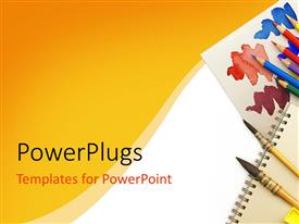 PowerPlugs: PowerPoint template with drawing theme with paint brushes, colored pencils, sharpener and color palette sheet of paper on yellow and white background