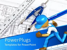 PowerPlugs: PowerPoint template with drawing tools over the construction map of a house