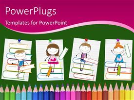 PowerPlugs: PowerPoint template with drawings of smiling children sitting on books above colored pencils