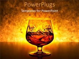PowerPlugs: PowerPoint template with drinking glass with liquid inside and a gold background