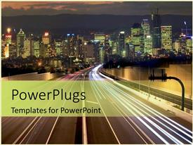 PowerPlugs: PowerPoint template with driving at night streets in city and skyscrapers