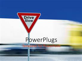 PowerPlugs: PowerPoint template with a driving sign with a road in the background and place for text