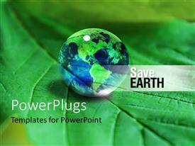 PowerPlugs: PowerPoint template with a drop of water looking like the Earth on a leaf