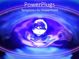 PowerPlugs: PowerPoint template with a drop of water making a ripple effect with blue background