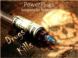 PowerPoint template displaying drug syringe covered in stack of money on dark background with skull