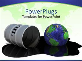 PowerPlugs: PowerPoint template with drum of oil and earth / globe in puddle of oil spill