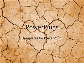 PowerPlugs: PowerPoint template with dry cracked desert in summer drought with no water on tan background