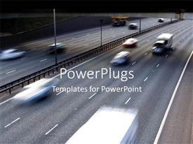 Colorful PPT layouts having dual carriage motorway with cars moving at high speed