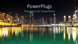 PowerPoint template displaying dubai Night Scene
