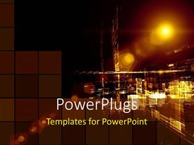 PowerPlugs: PowerPoint template with a distantview of a street in the night with lots of lights