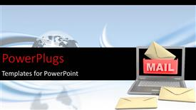 PowerPlugs: PowerPoint template with an open laptop with a text that spells out the word 'mail'
