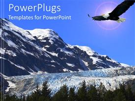 PowerPlugs: PowerPoint template with eagle flying in blue clouds over hills covered with snow