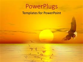PowerPlugs: PowerPoint template with eagle flying over sea with sunset on the horizon