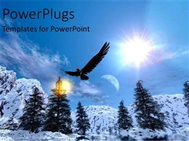 PowerPlugs: PowerPoint template with eagle snowy mountain range in winter skiing snowboarding blue skies