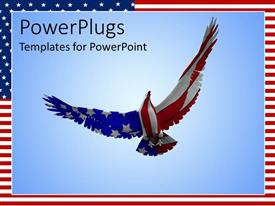 PowerPoint template displaying eagle soaring into blue sky with American flag pattern on body