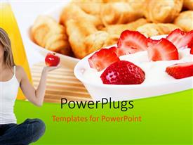 PowerPlugs: PowerPoint template with young happy woman holds read apple in hand symbolizing healthy living