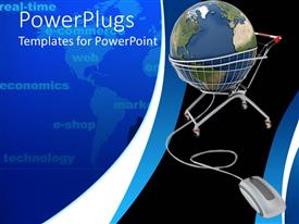 PowerPoint template displaying earth being carried and surrounded with the wire of the mouse