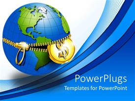 PPT theme enhanced with earth being unzipped at Equator with gold zipper and gold coin coming out