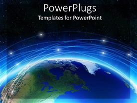 PowerPoint template displaying earth with blue line and background of black sky with shining stars