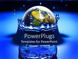 PowerPlugs: PowerPoint template with the Earth dropping in water creating a splash and  reflection