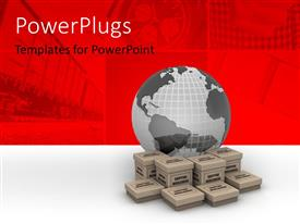 PowerPlugs: PowerPoint template with earth globe on 3D boxes depicting global online shopping