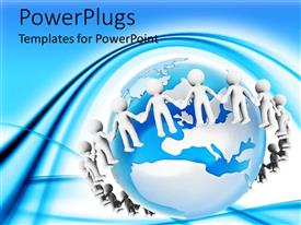 PowerPlugs: PowerPoint template with an earth globe with 3D characters holding hands around it