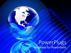 PowerPlugs: PowerPoint template with earth globe between concentric circles with reflection and transparent curvy lines