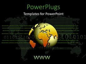PowerPlugs: PowerPoint template with earth globe with binary digits over world map on black surface
