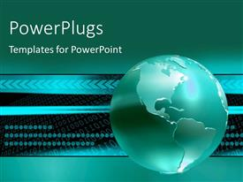PowerPlugs: PowerPoint template with earth globe with binary numbers on black and blue background
