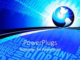PowerPlugs: PowerPoint template with earth globe on blue futuristic background displaying words related to global evolution for company marketing