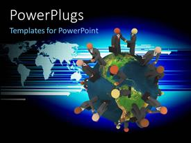 PowerPlugs: PowerPoint template with an earth globe with business men characters standing on it