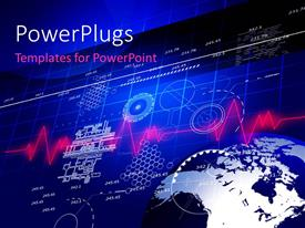 PowerPlugs: PowerPoint template with earth globe with business related elements on blue surface