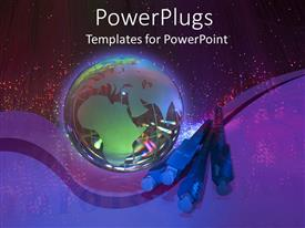 PowerPlugs: PowerPoint template with an earth globe with some cable wire heads on a purple background