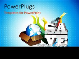 PowerPlugs: PowerPoint template with earth globe in carton with 3D text SAVE on blue background