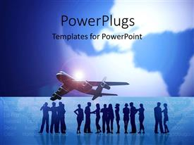 PowerPoint template displaying earth globe faded in background with airplane and silhouette of people